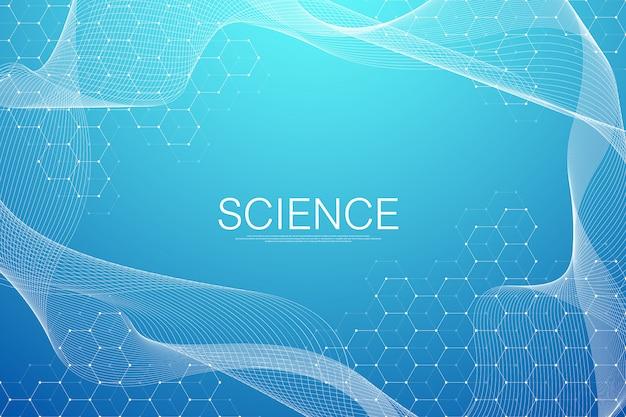 육각형 기하학적 입자 형태와 배경을 추상화합니다. 과학, 기술 및 의료 개념. 디자인을위한 그래픽 미래 배경 파도 흐름 16 진수. 일러스트 배너