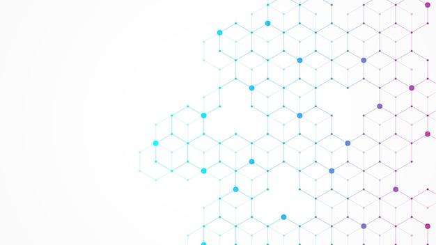 六角形は幾何学的な形で背景を抽象化します。科学、技術、医療の概念。