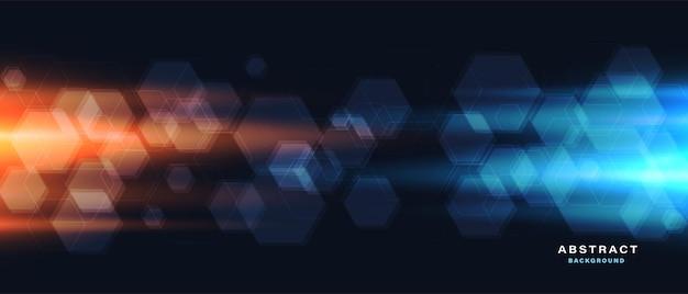 六角形の抽象的な背景と光の効果