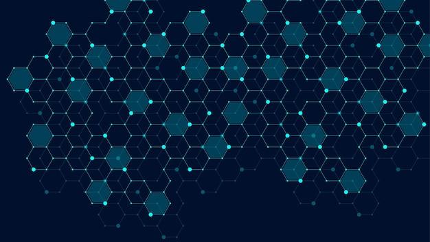 연결된 선과 점이 있는 육각형 추상 격자 배경. 미묘한 다각형이 있는 16진수 디지털 패턴입니다. 선형 기하학적 질감입니다. 육각형 벡터 일러스트 레이 션.
