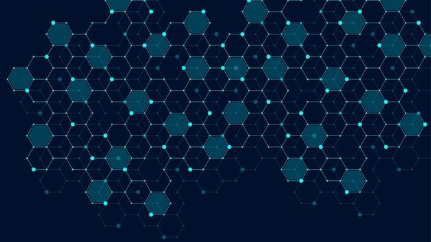 Hexagons abstract grid background with connected lines and dots. hex digital pattern with subtle polygons. linear geometric texture. hexagonal vector illustration.
