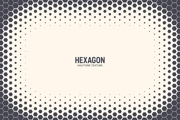 Hexagons halftone abstract frame