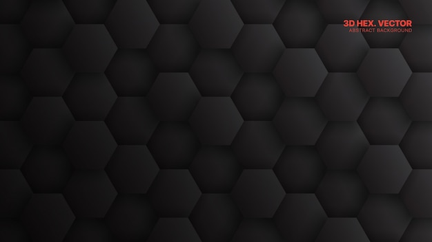 Hexagons pattern minimalistic dark gray technology abstract background