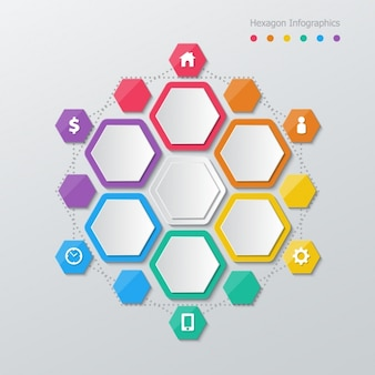 Hexagons with colored borders