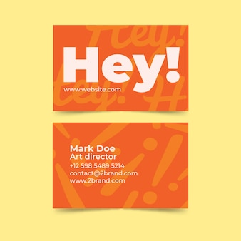 Hey! greetings business card template Free Vector