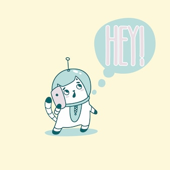 Hey lettering with funny astronaut cat