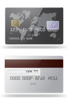 Hhighly detailed glossy credit card. front and back sides.