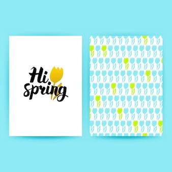 Hi spring trendy poster. vector illustration of pattern design with handwritten lettering.