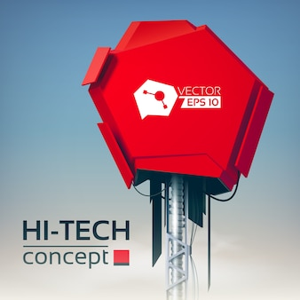 Hi-tech concept with 3d engineering construction