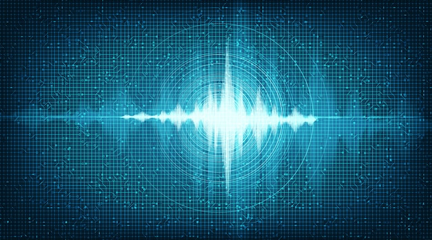 Hi-tech digital sound wave low and hight background