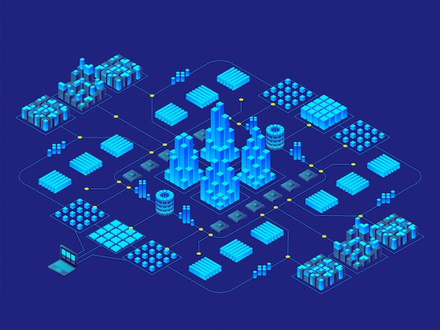 Hi-tech digital technology concept. futuristic circuit board. electronic motherboard. communication and engineering concept. isometric illustration