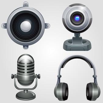 Набор иконок высокотехнологичного оборудования. электроника устройства техники.