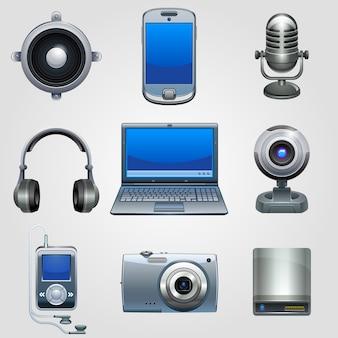 ハイテク機器アイコンセット。テクノロジーデバイスエレクトロニクス。