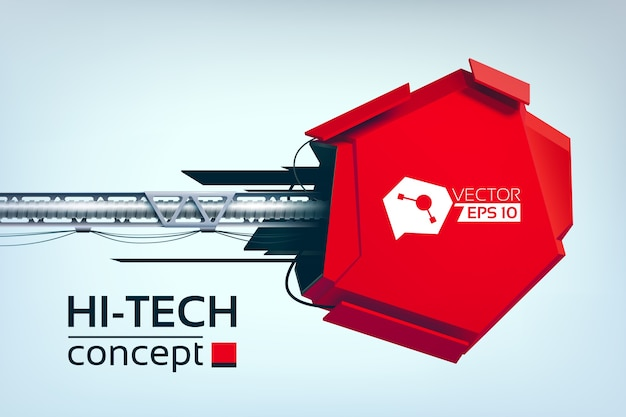 Hi-tech illustration with red communication device layout in realistic style