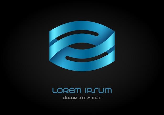 Hi tech looped infinity logotype, logo ribbon.