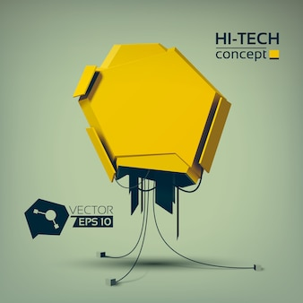 Hi-tech technologic concept with yellow geometric object in futuristic style