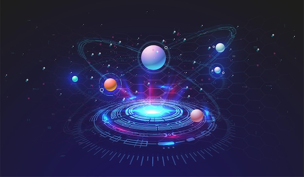 Hi-tech technological background with hud elements. futuristic circle interface design. abstract futuristic template. abstract space model.