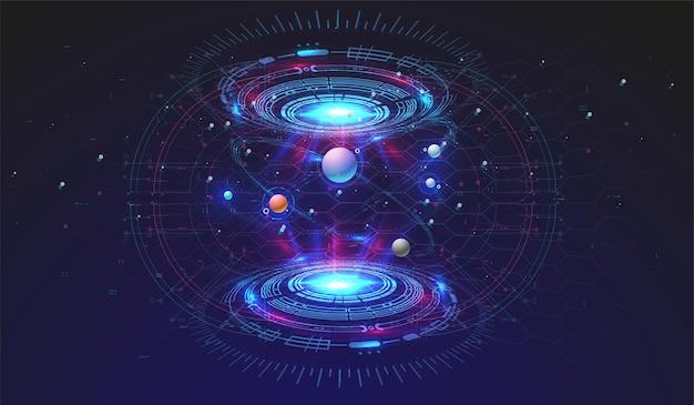 Высокотехнологичный технологический фон с элементами hud. футуристический дизайн интерфейса круга. абстрактный футуристический шаблон. абстрактная космическая модель.