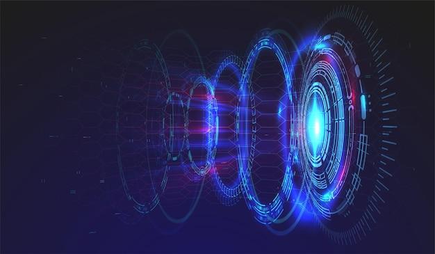 Hud要素を使用したハイテク技術のバックグラウンド。未来的なサークルインターフェースデザイン。抽象的な未来的なテンプレート。抽象空間モデル。