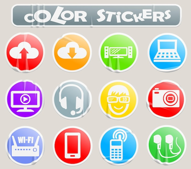 Hi tech vector web icons on paper sticker for your design