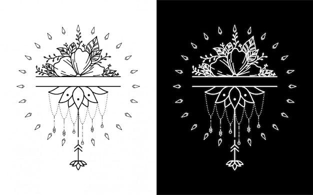ハイビスカスと蓮の花のタトゥー