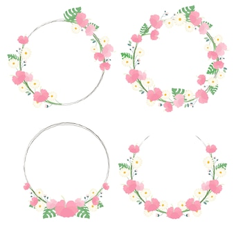 Hibiscus blossom flower wreath frame collection for summer