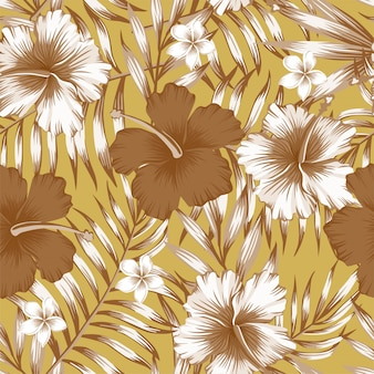 Hibiscus brown palm leaves gold pattern