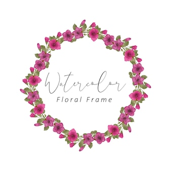 Hibiscus floral frame watercolor design with red color flower and green leaf color