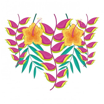 Hibiscus flower and heliconia leaves tropical