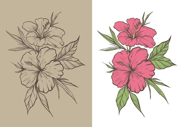 Деревенский эскиз цветок гибискуса