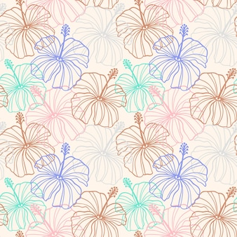 Hibiscus flower seamless pattern in beige, pink, brown colors. tropical hawaiian floral seamless pattern. exotic pastel background with hibiscus line silhouette. vector illustration for print, textile