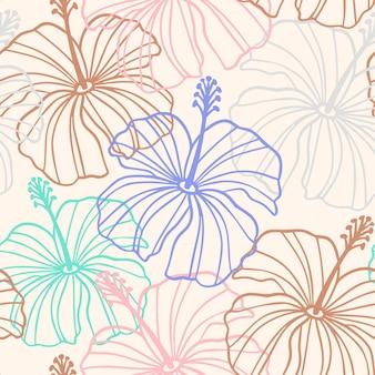 ベージュ、ピンク、茶色のハイビスカスの花のシームレスなパターン。トロピカルハワイアンフローラルシームレスパターン。ハイビスカスラインのシルエットとエキゾチックなパステルカラーの背景。印刷、テキスタイルのベクトル図