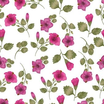 ハイビスカスの花のシームレスなパターンの葉の花と水彩デザイン