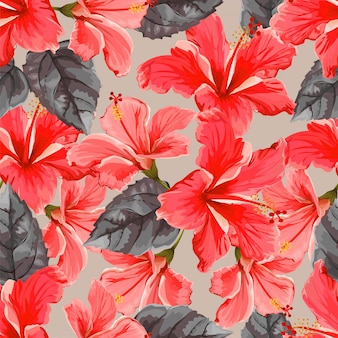 Hibiscus flower seamless pattern