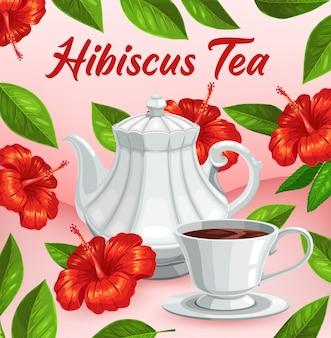 Hibiscus flower tea cup, herbal flavor drink
