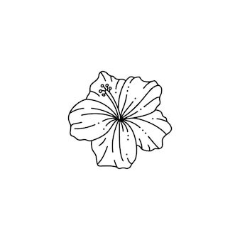 Hibiscus flower in a trendy minimalist liner style. vector floral illustration for printing on t-shirt, web design, beauty salons, posters, creating a logo and other