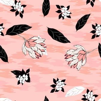 ハイビスカスの花と熱帯の葉がピンクの背景にシームレスパターン。黒と白のヤシの葉。ターコイズブルーのハイビスカスの花。繊維のエキゾチックな花柄。