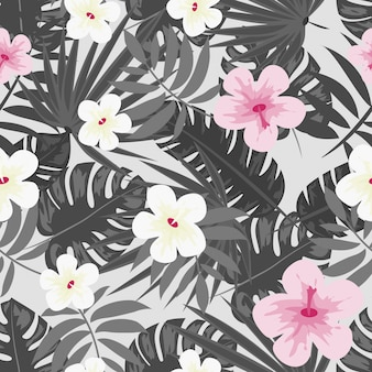 Hibiscus flowers monstera leaves floral print for fabric vector seamless pattern