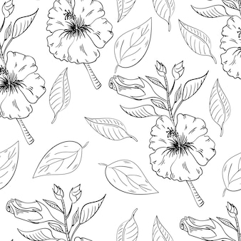 Hibiscus flowers seamless pattern with leaves