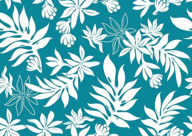 ハイビスカスハワイシームレスパターン、ファッションの背景。