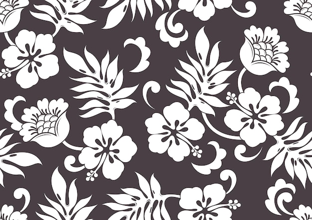 Hibiscus hawaii seamless pattern, fashion background.