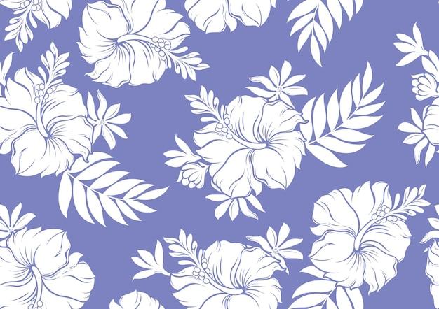 히비스커스 하와이 완벽 한 패턴, 패션 배경입니다.