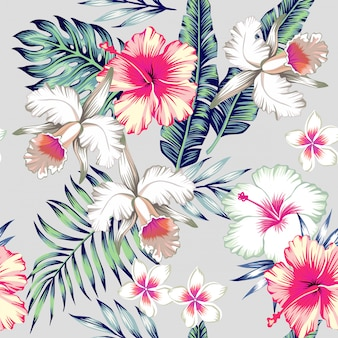 Hibiscus and orchids tropical seamless pattern