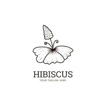 Hibiscus rustic flower logo icon in doodle line art style Premium Vector