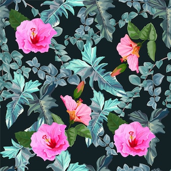 Hibiscus and tropical leaves seamless pattern-vector