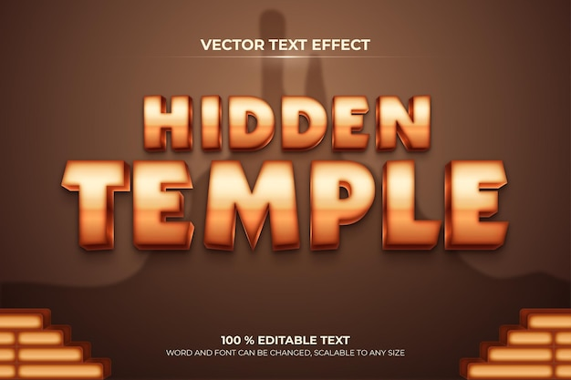 Скрытый храм редактируемый текстовый эффект 3d