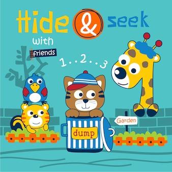 Hide and seek funny animal cartoon