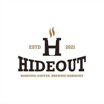 カップコーヒーロゴデザインテンプレートと隠れ家の手紙h