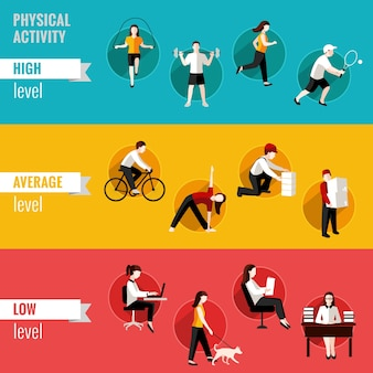 High average and low physical activity level horizontal banners set isolated vector illustration