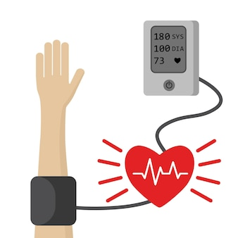 High blood pressure hypertension and health care concept with electonic tonometer and heart